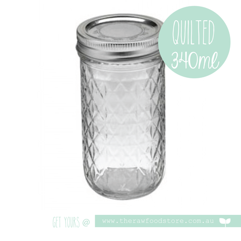 Quilted Ball Mason Jar 340ml -  with regular lid