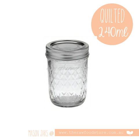 Quilted Ball Mason Jar 240ml (8oz) -  with regular lid