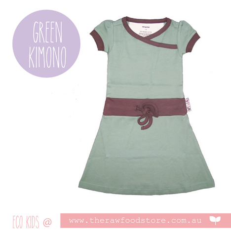 Earthlings Organic Cotton Kimono Dresses - Green Bay
