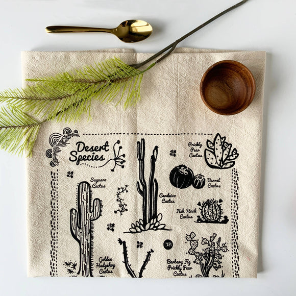 Desert Species Tea Towel - Black