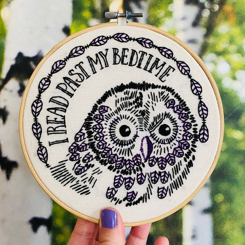 I Read Past My Bedtime - Complete Embroidery Kit