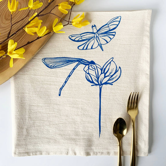 Dragon Flies Tea Towel - Blue