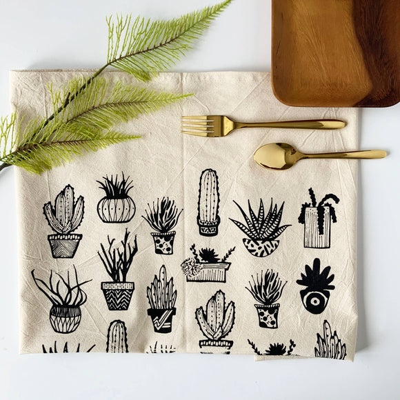 Succulents Tea Towel -  Black