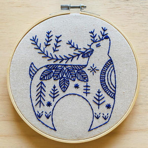 Reindeer Embroidery Kit, Holiday Hygge - Complete Embroidery Kit