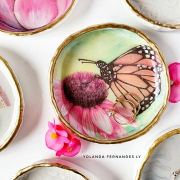 Butterfly Resin & Clay Ring Dish
