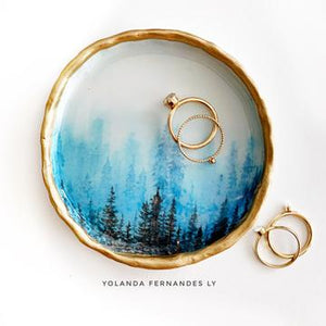 Misty Forest Resin & Clay Ring Dish
