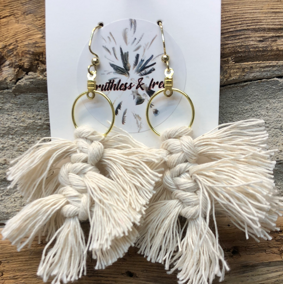 Macrame Feather Earrings