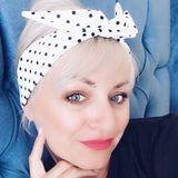 B&W Polka Twist of Gray Headband