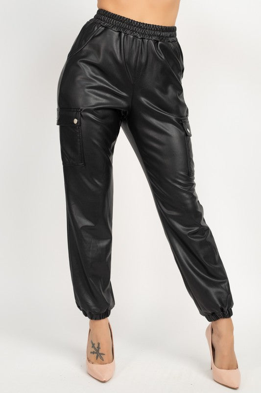Cargo Faux Leather Joggers