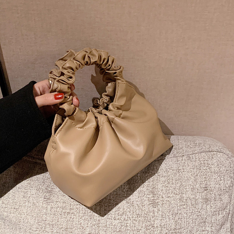 Short Gathered Handbag-Khaki
