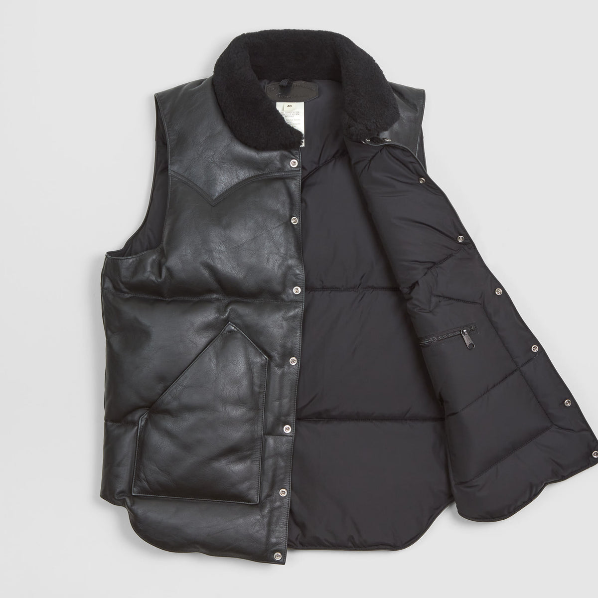 Rocky Mountain Featherbed Black Leather Down Vest