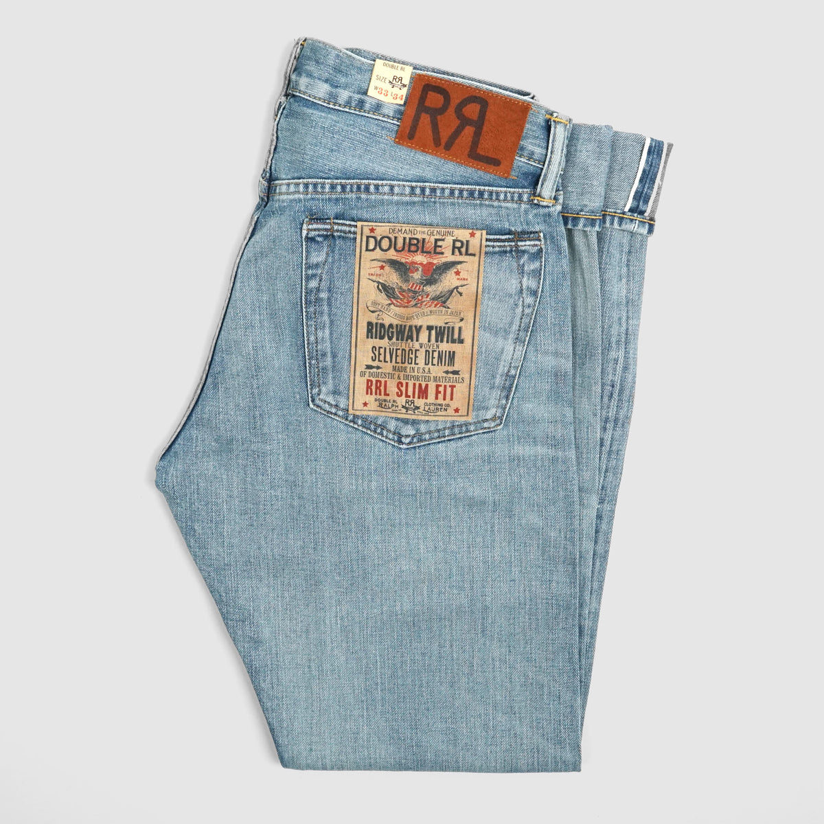 Double RL Heavy Washed Denim  Slim Fit Selvage Jeans
