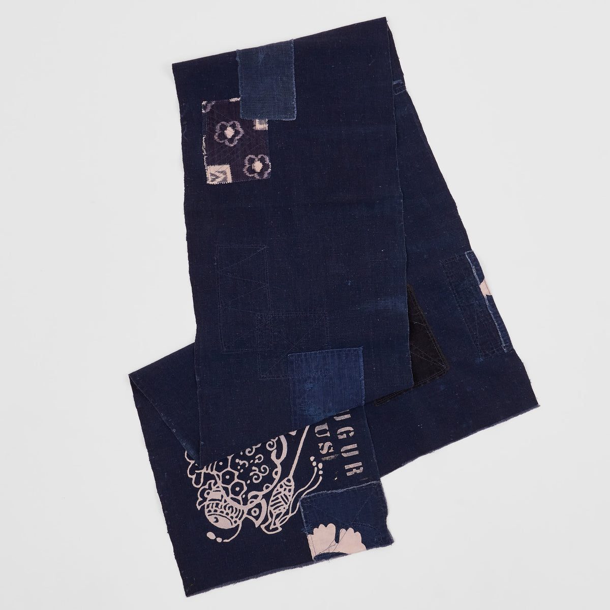 J. Augur Design Antique Japanese Indigo Boro Scarf
