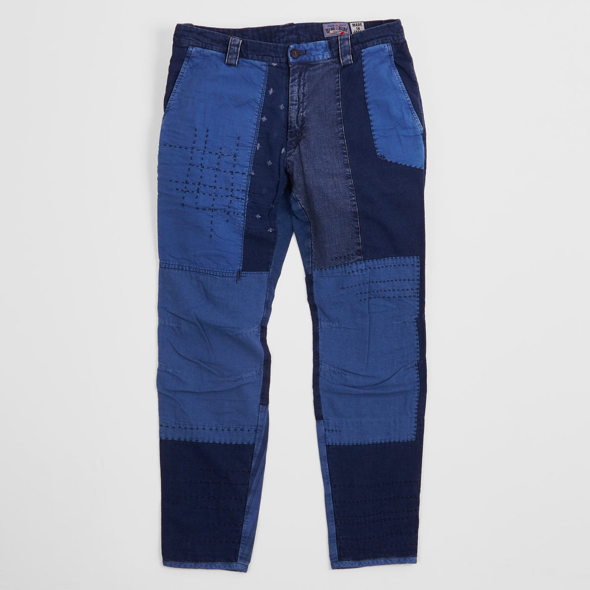 Blue Blue Japan Indigo Patchwork Chino Trousers