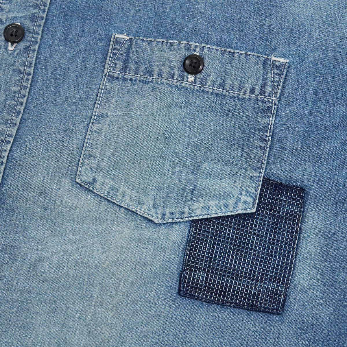 FDMTL Denim Patchwork Jeans Shirt Sashiko Embroidered