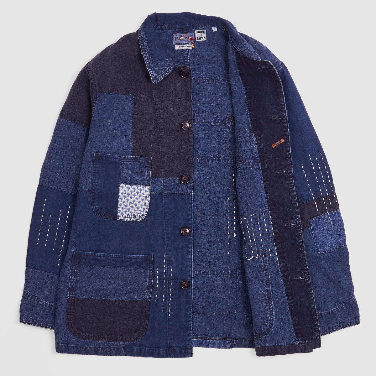 Blue Blue Japan Indigo Patchwork Boro Coverall