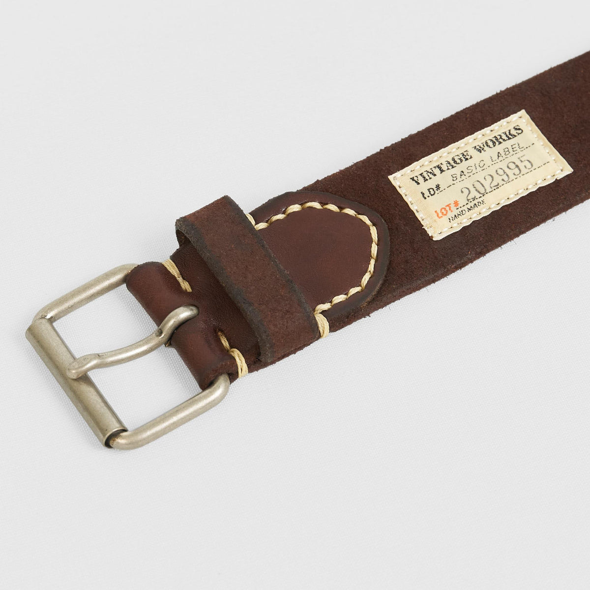 Vintage Works Classic Belt with Roller Buckle Suede