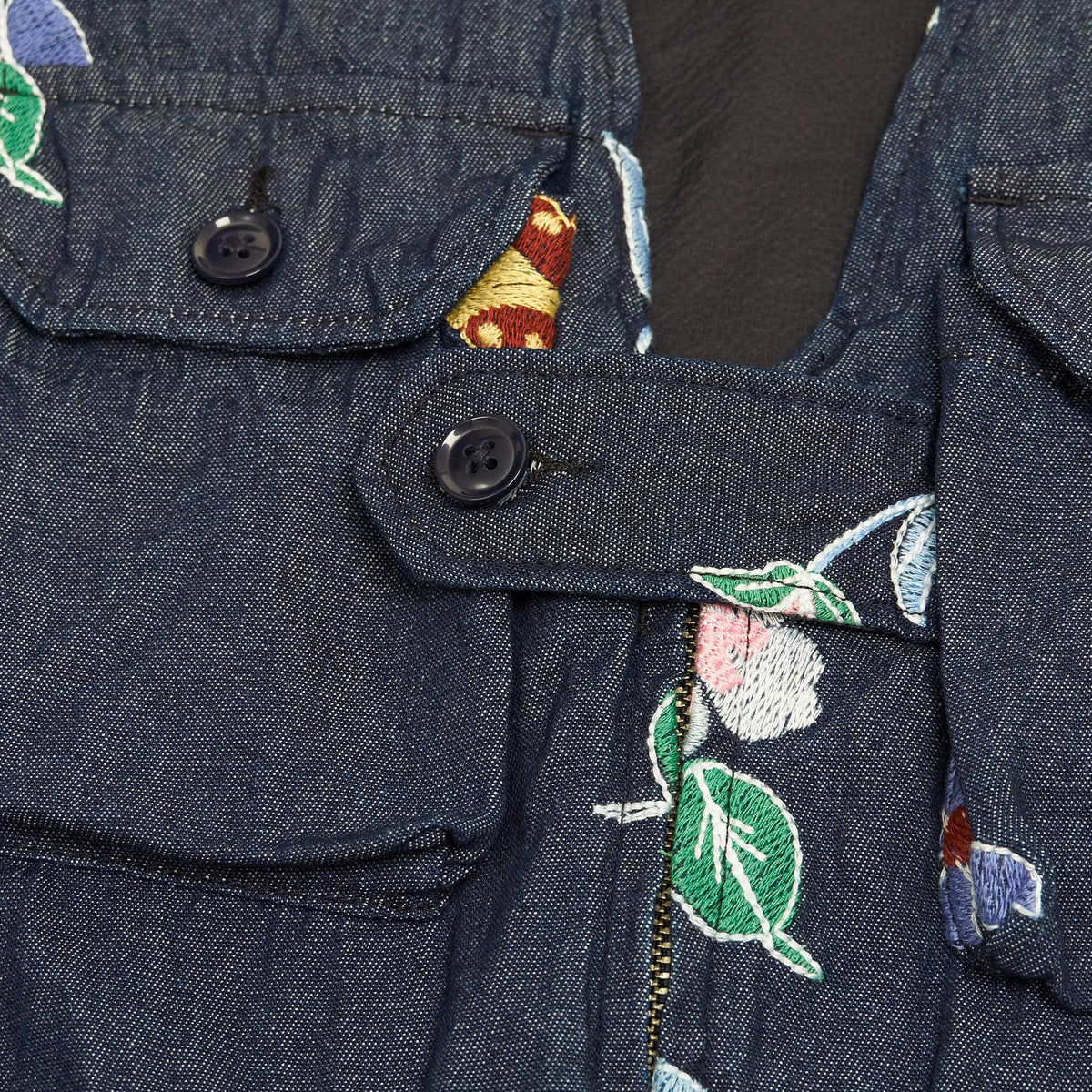 Engineered Garments Denim Floral Vest Indigo