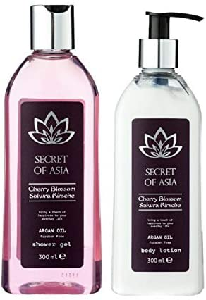 Secret of Asia - Duo Lait Corps + Gel Douche Fleur de Cerisier Sakura - 2x 300 ML - Vegan - Sans Paraben- Lotion Relaxante
