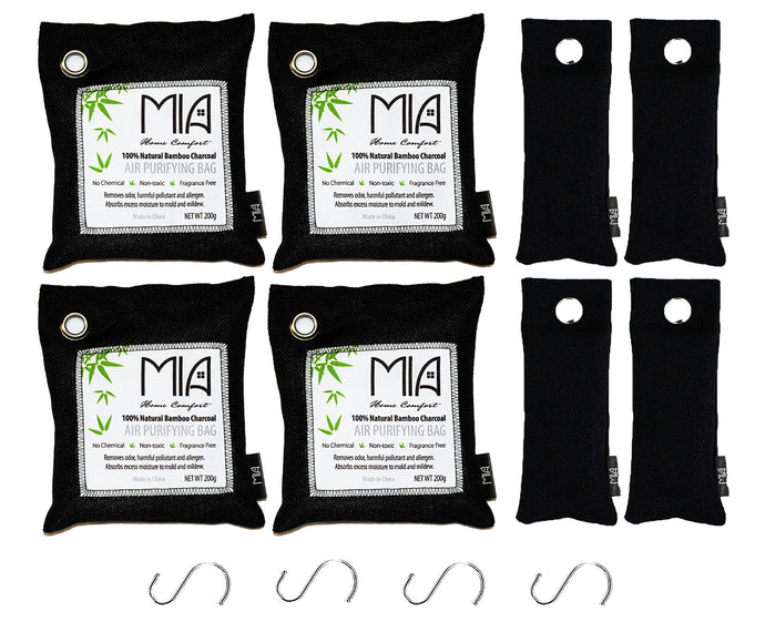 Bamboo Charcoal Odor Eliminating Bags: 12 pieces