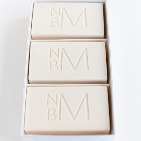 Sanderling Soap Set by WREN Home featuring white monogrammed soaps