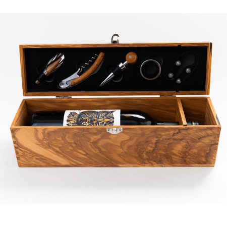 WREN Home theron-olive-wood-wine-box-with-five-piece-gift-set