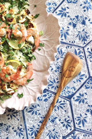 Lemon Orzo and Grilled Shrimp Pasta for WREN Home by Stuffy Muffy featuring WREN Olive Wood Utensils