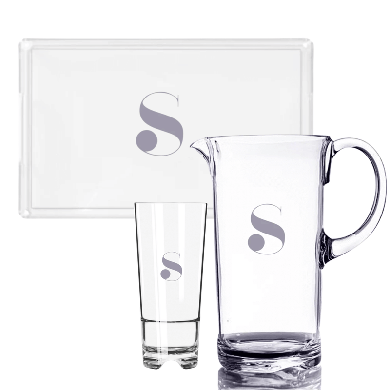 Goldfinch Acrylic Tray + Goldfinch Acrylic Highball Set + Goldfinch Acrylic Pitcher - WREN