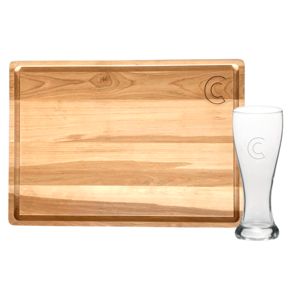 Lark Carving Board + Birdie Pilsner Glass (Set of 4) - WREN