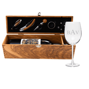 Theron Olive Wood Wine Box with Five Piece Gift Set + Birdie Wine Glasses with Stems (Set of 4) - WREN