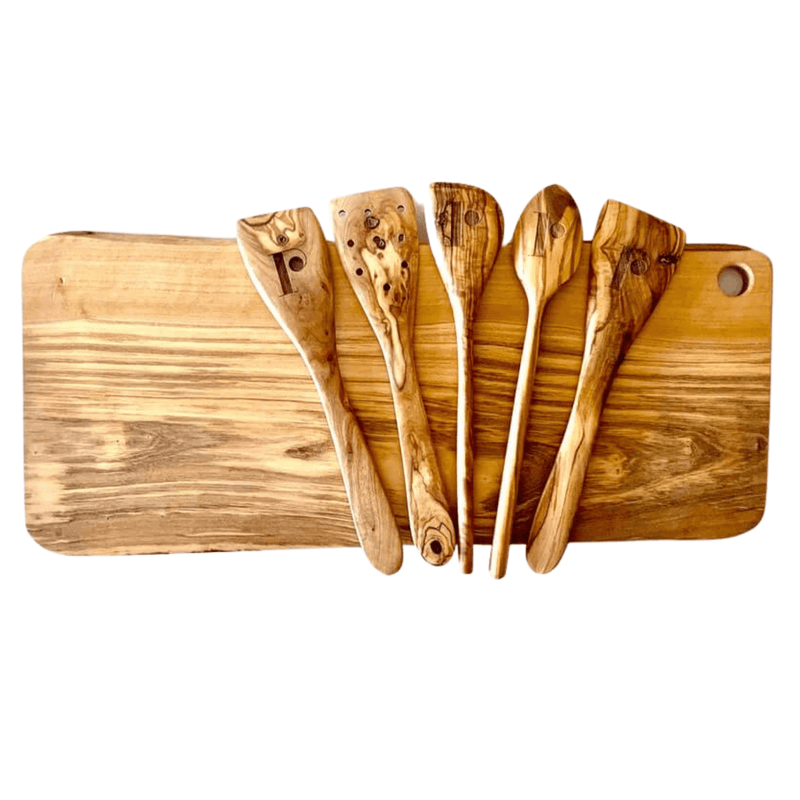 Theron Large Olive Board + Theron Olive Utensil Set - WREN