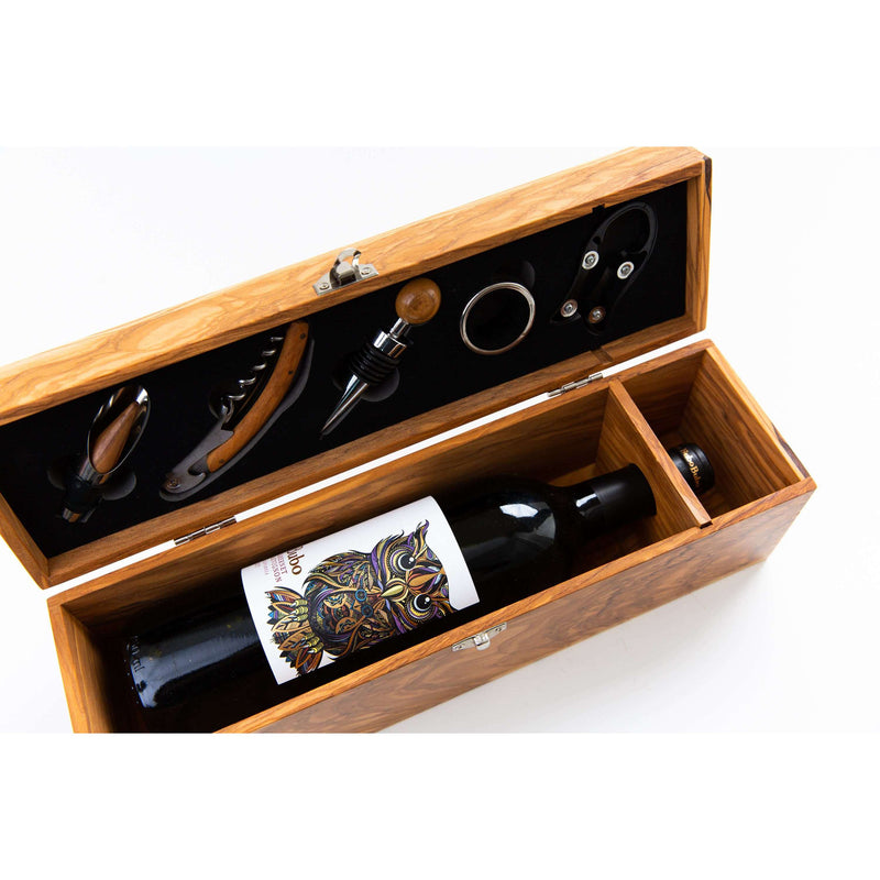 Theron Olive Wood Wine Box with Five Piece Gift Set - WREN