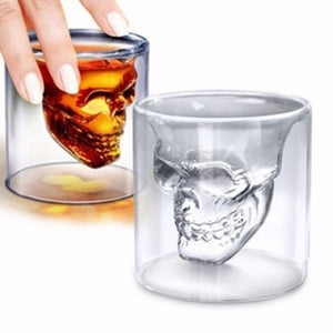 Halloween Skull Double Transparent Glass Beer Cup For the Home Bar Beer Water and Party Hotel Wedding Glasses Gift Drinkware