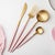 Hot Pink Gold Dinnerware Set 304 Stainless Steel Western Cutlery Set Kitchen Food Tableware Fork Knife Scoop Silverware Set