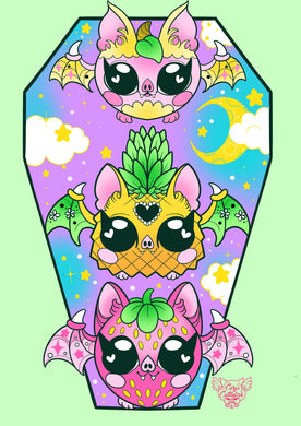Fruit Bats Mini Print