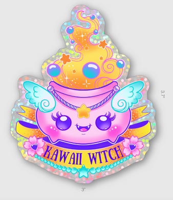 Kawaii Witch Glitter Sticker