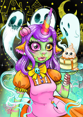 Halloween Unicorn Waitress Holographic Print