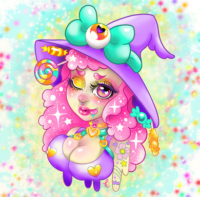 Cotton Candy Witch Print