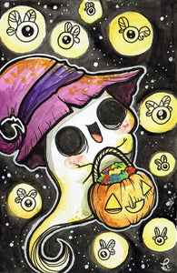 Ghost trick or treat Oversized Postcard Print