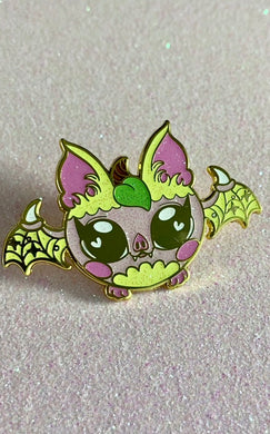 Peach Fruit Bat Enamel Pin