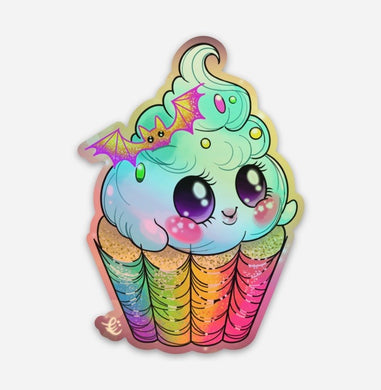 Ghost cupcake holographic sticker