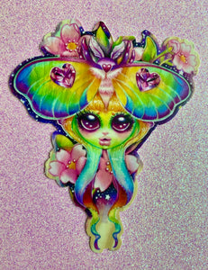 Rainbow Lunar Moth Sticker