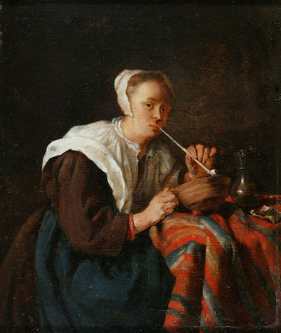"A Woman Seated Smoking a Pipe,"" a Dutch painting circa 1650-1667"