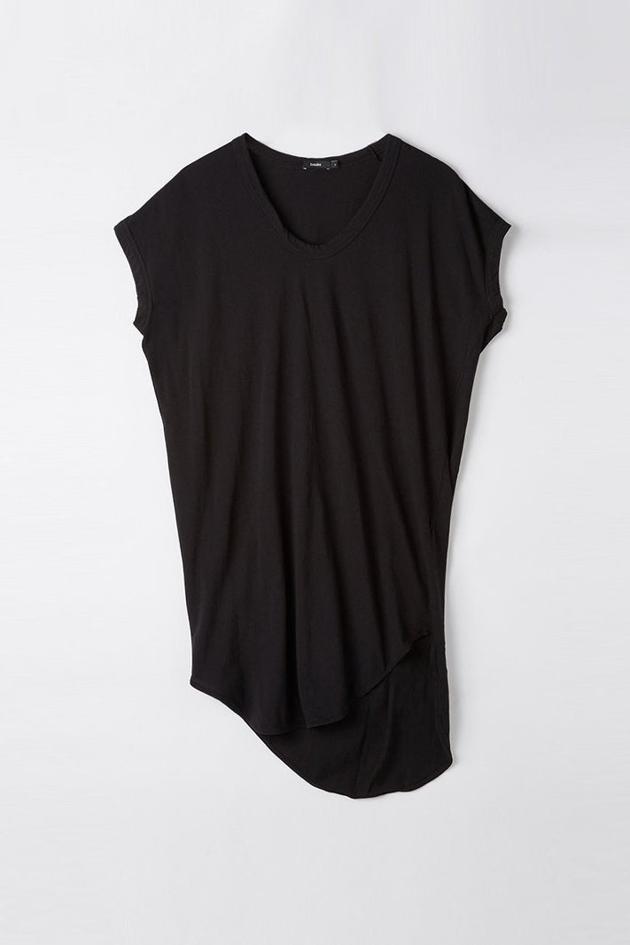 Boxy T Shirt Dress w/ Tail II Black