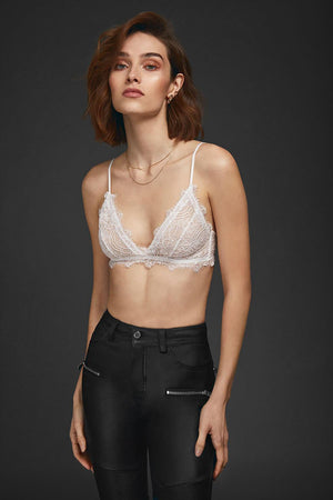 Lace Bra with Trim Ivory