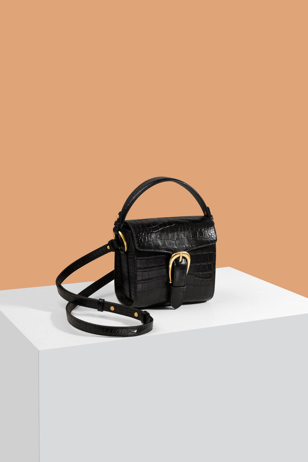 The Madelina Mini Black Croc