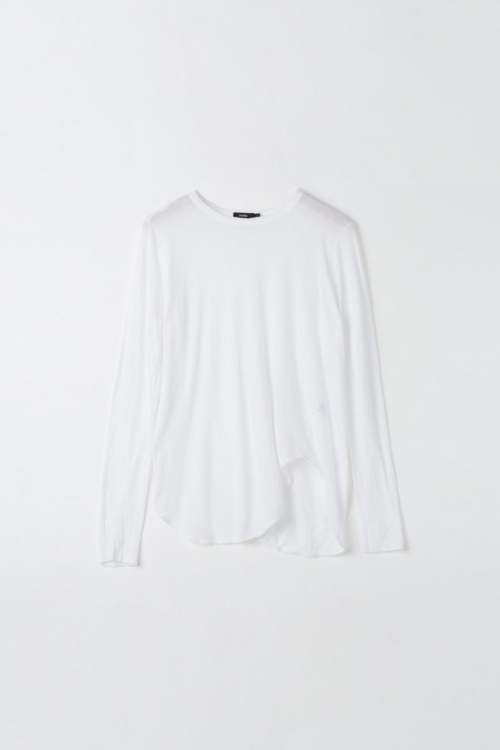 Heritage Scoop Hem L/S T Shirt White