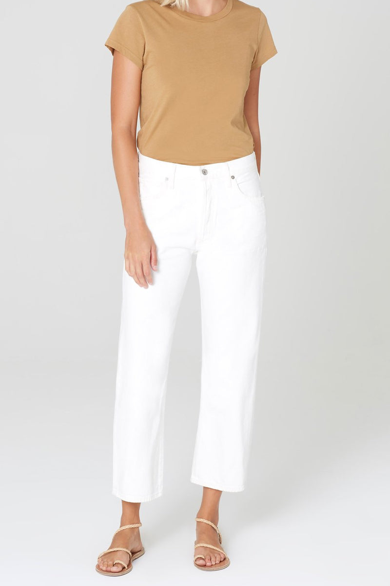 Emery Crop Relaxed Straight in White Chalk