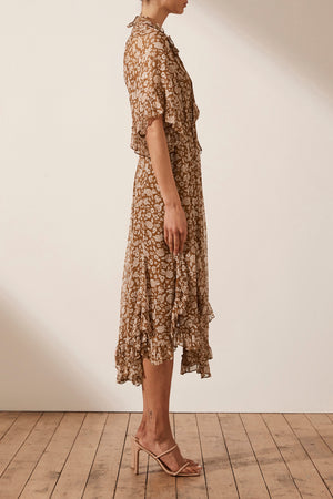 Odette Flutter Sleeve Godet Midi Dress Clay Ivory