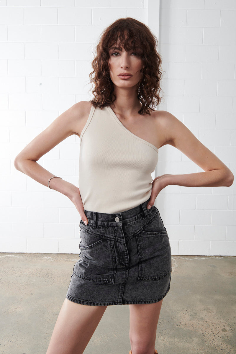 One Shoulder Rib Top Sand